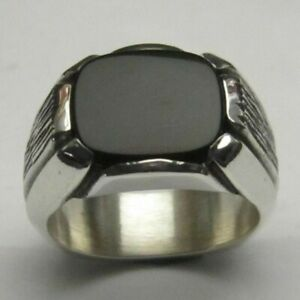 Natural Black Onyx Gemstone with 925 Sterling Silver Ring for Men's #1140