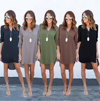 Women Summer Long Sleeve Chiffon Solid Top Loose Dress Clothes T-shirt Plus Size