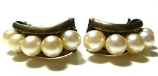ANTIQUE VINTAGE MIKIMOTO 950 STERLING SILVER GRADUATED PEARL CLIP EARRINGS