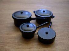 Dollshouse Miniature  ~ BLACK ~ Saucepan Set