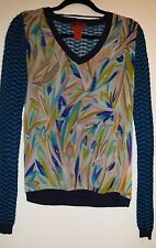 Missoni for Target Chiffon V-Neck Sweater Zig Zag Top Knit Blouse Multicolor M,