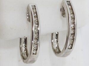 14k White Gold Diamond Huggie Earrings Oval Shape .50 Carat G Color VS Clarity