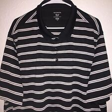 MENS BLACK STRIPED GEORGE POLYESTER S/S GOLF ATHLETIC POLO SHIRT 3XL