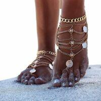 1 Fußkette XL Fußkettchen Fußschmuck Knöchel Fuß Schmuck Silber oder Gold Farbe