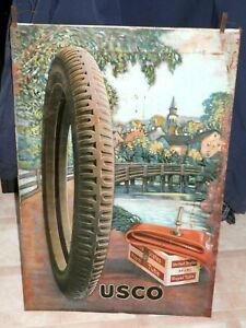 "VINTAGE CIRCA 1920'S U.S Royal Tires Gas Sign~29"" X 19"" RARE"