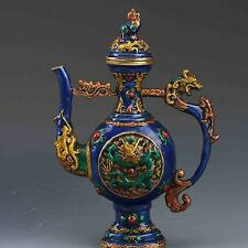 Chinese Cloisonne Hand Carved Dragon Teapot w Ming Dynasty XuanDe Mark