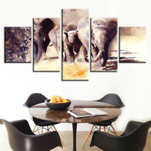 Abstract African Elephant Herd Painting 5 Panel Canvas Print Wall Art Home Decor