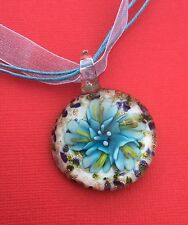 Light Blue White Flower Glass Pendant Ribbon Necklace Women's - Aussie Seller!