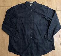 Men's L.L. Bean Casual Shirt Blue Green Check XL Extra Large Cotton Long Sleeve