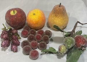 Vintage Lot Beaded Sequin Faux Fruit Apple Orange Blackberries Pear Plums 19 Pcs