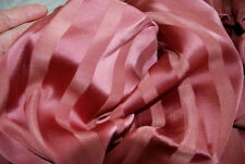 Antique French Silky Stripe Fabric Satin Lush Drape French Curtain Dusty Rose