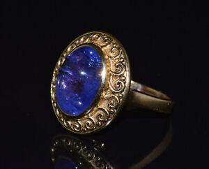 Certified Natural Tanzanite 18K 750 Solid Gold Etruscan Byzantine Filigree Ring