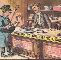 19th Century Hardware Store card Scene Mrs Potts Sad Iron Victorian Trade Card