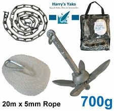 ANCHOR KIT Kayak Fishing - 700g Collapsible Anchor, 20m Rope, Chain, D Shackles