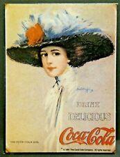 "Dollhouse Miniatures Metal Sign Advertising Coke Lady COCA COLA 2 1/4"" x 3 1/8"""