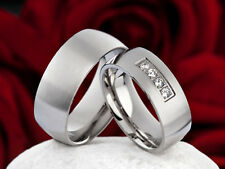 2 edle Verlobungsringe Eheringe Trauringe Partnerringe mit Gravur P084