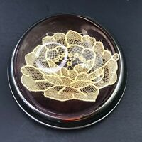 Vintage Glass Paperweight Antique French Handmade Lace Flower Floral Beautiful!