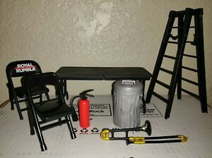WWE WWF Wrestling Accessories Jakks Lot~Table~Trashcan~Fire Extinguisher~Ladder+