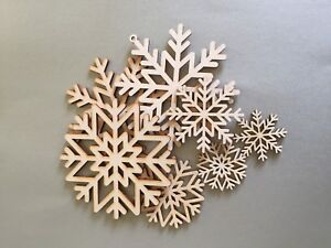 10 WOODEN SNOWFLAKES CHRISTMAS DECORATION PLYWOOD BLANK PLAIN