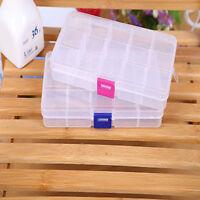 Plastic 15/10 Slots Adjustable Jewelry Make Up Storage Box Case Craft Organizer