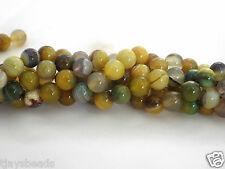10mm Yellow Green Agate Round Beads for Jewellery Making -Approximately 37 beads