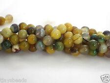 10mm jaune vert agate perles rondes pour fabrication de bijoux-environ 37 perles