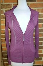 Athleta Ribbed Hoodie Sweater Zip Front Plum Purple Medium M