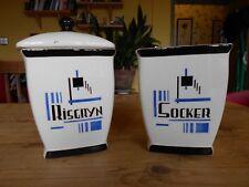 Vintage Swedish Deco Ceramic Kitchen Cannisters Sugar Rice a/f