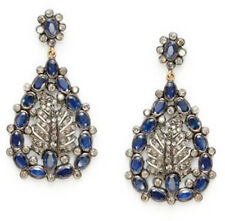 Victorian 925 Silver Dangler Earring 4.85cts Rose Cut Diamond Sapphire Antique