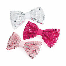 Le ragazze 3pc Set Rosa Bianco Fucsia frizzante Paillettes in tessuto CLIP CAPELLI FIOCCO 7 cm Grip