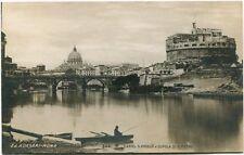 Primi '900 Roma Castel S. Angelo Cupola S. Pietro Barca FP B/N ANIM