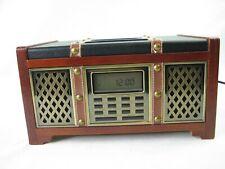 Technosonic Model KHA716 iPod Dock/Charge/Alarm/Clock-Vintage Look-Wood/Leather