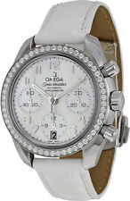 324.18.38.40.05.001 | NEW OMEGA SPEEDMASTER DIAMOND WOMEN'S WATCH W/ WHITE STRAP