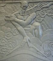 Art Deco Machine Age Canvas Print Zeus w/Lightening Bolt