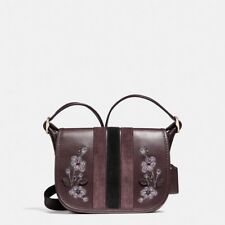 NWT COACH PATRICIA SADDLE BAG 18 VARSITY STRIP LEATHER W/FLORAL EMBROIDERY