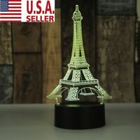 3D LED illusion Eiffel Tower 7 Color table Night Lamp Light Bedroom Child Gift