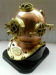 "Antique Brass Deep Sea US Navy Mark V Diving Scuba Divers Helmet 18"" with Base"