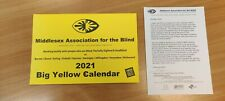 2021 Large Print Wall Calendar - Yellow & Black (Ideal for Visual Impairment)