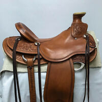 "Western hot seat saddle 16""on SBL-leather buffal Sbl color drum dye finish."