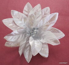 """4"""" Silver Poinsettia Flower Poly Silk Brooch Pin,Corsage,Hat,Christmas"""