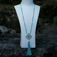 Natural Turquoise beads w/freshwater pearl luxury 65cm necklace w/tassel AD99