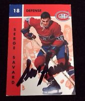 SERGE SAVARD 1995 PARKHURST Autographed Signed AUTO HOCKEY Card 74 CANADIENS