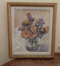 """Signed Painting """"Calendulas"""",1988 pastel in frame by American artist Nancy Gross"""