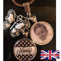 Personalised Photo Keyring Polka Butterfly Christmas Present Birthday Gift Box
