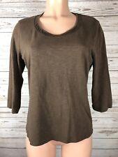 Coldwater Creek M 10 12 Slub Knit Wool Cotton Knit Blouse Shirt Top q3