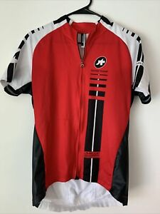 Assos Men's Cycling Jersey Short Sleeve Mille SLOVENIA Red Black White Sz LARGE