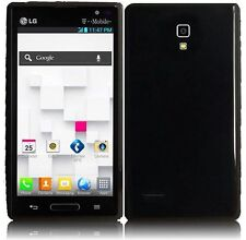 For LG Optimus L9 TPU Candy Flexi Gel Crystal Skin Case Cover Glossy Black