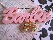 Pink Barbie Diamante Diamond Charm Necklace Vintage Kitsch Chain Choochie Choo
