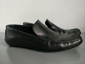 Boss Hugo Boss Black Leather Slip On Loafers Size UK 8