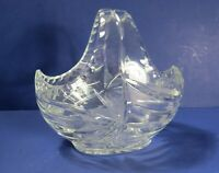 Clear Cut Glass Crystal Basket - Thistle Pattern